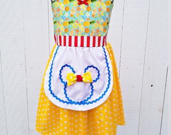 Pineapple dress, Dole whip MINNIE MOUSE dress, summer dress, Minnie Mouse vacation Dress, pineapple dress, Disney cruise dress, sundress
