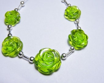 5 Pcs Very Attractive Peridot Quartz Hand Carved Rose Flower Beads Size 17X17 - 13X13 MM