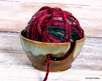 Yarn Bowl. Earth and Sky. Brown blue yarn bowl. Hand made pottery yarn bowl. Yarn keeper. Yarn holder