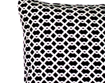 CLEARANCE 16x16 or 14x14 inch Black and White Decorative Throw Pillow Cover -  Designer Trellis Lattice - Cushion Cover, Sofa Pillow