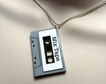 CASSETTE 'MIX TAPE'...Laser cut Acrylic necklace