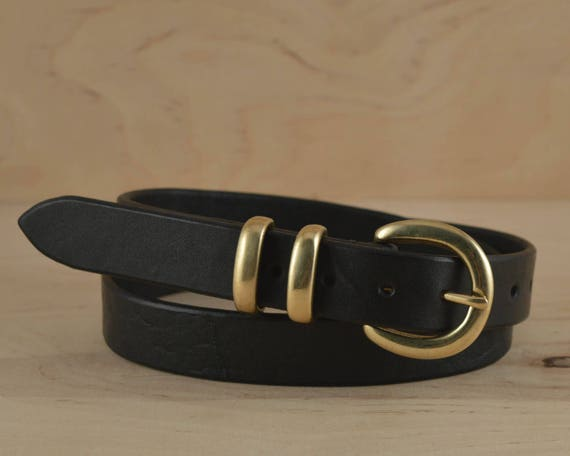 Unique Black Leather Belt Gold buckle Women's leather belt Solid NH28