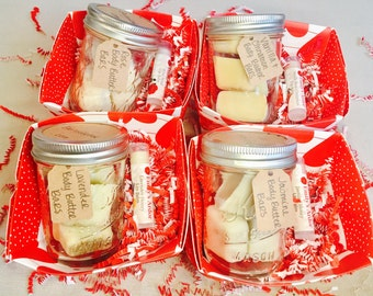 Mini Gift Baskets With Butter/ Body Butters and Lip Balm Sets/ Mini Spa Basket/ VDayGift