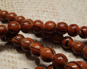 20 round stone beads dyed Brown and Black 8mm