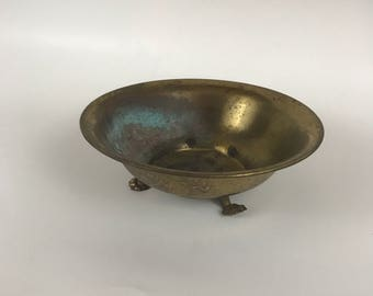 Vintage Brass Bowl on Three Paw Feet Catchall