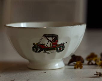 Bowl Café au Lait, Vintage, French ceramic 1950/60 years old cars, old collectible Bowl, XX th century