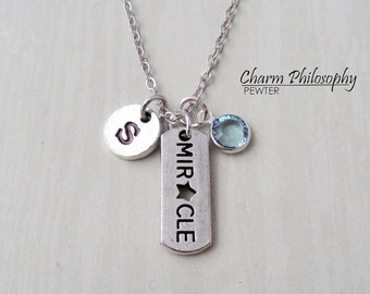 Miracle Necklace - Antique Silver Jewelry - Monogram Personalized Initial and Birthstone - Inspirational Gift