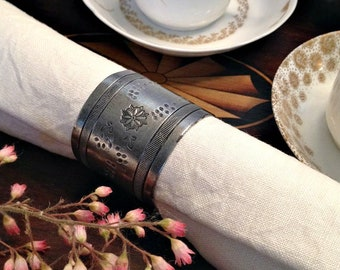 Antique Silver Plate Floral Etched Napkin Ring