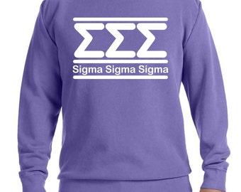 Sigma Sigma Sigma Shirt, Sigma Sigma Sigma Sweatshirt, Tri Sig Sweatshirt, Comfort Colors, Tri Sig Shirt, Big little shirt, sorority apparel
