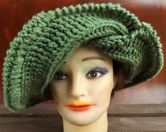 50th Birthday Gift for Women, Custom Hat Floppy Hat Wide Brim Hat, Crochet Hat Womens Hat Winter Hat, Frontier Sage Green Hat