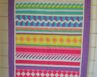 Amazing Vintage Geometric Quilted Wall Hanging. Bright. Estate Find