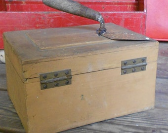 Now 20% off WOODEN BOX, SHABBY, garden spade handle, tote, utility carrier, ooak, weathered, primitive, storage,