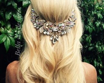 Wedding Hair Jewelry, Hair Chain Accessory, Bridal Hair Chain, AB Clear Crystal Jewels And Gold Chain, Boho Wedding Head Piece Beach Wedding