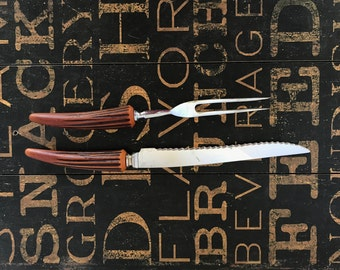 Bakelite Handle Carving Set by E. Parker & Sons, Simulated Horn, Serrated Knife and Meat Fork, 1950s Mid, Glamping, Cottage, Kitchen Decor