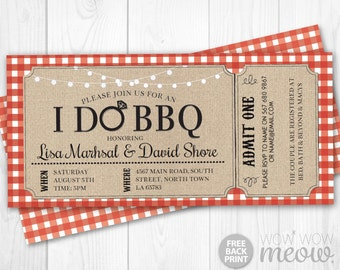 I Do BBQ Invitation Tickets Red Couples Shower Printable Invite Engagement Party INSTANT Download Check Personalize Editable Printable Edit