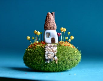 Fairy garden house, terrarium, moss ball, house on hill, handmade, springtime, housewarming, home, whimsical, yellow flowers, spring