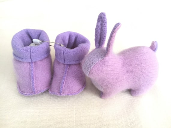 Cashmere Slippers and Baby Bunny Set