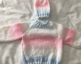 Pink, white, and blue striped pullover sweater with hat, size 12 months