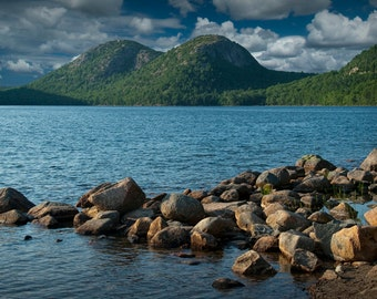 Rocks on the shore in Jordan Pond by the Bubbles on Mount Desert Island in Acadia National Park in Maine No.191 A Landscape Photograph