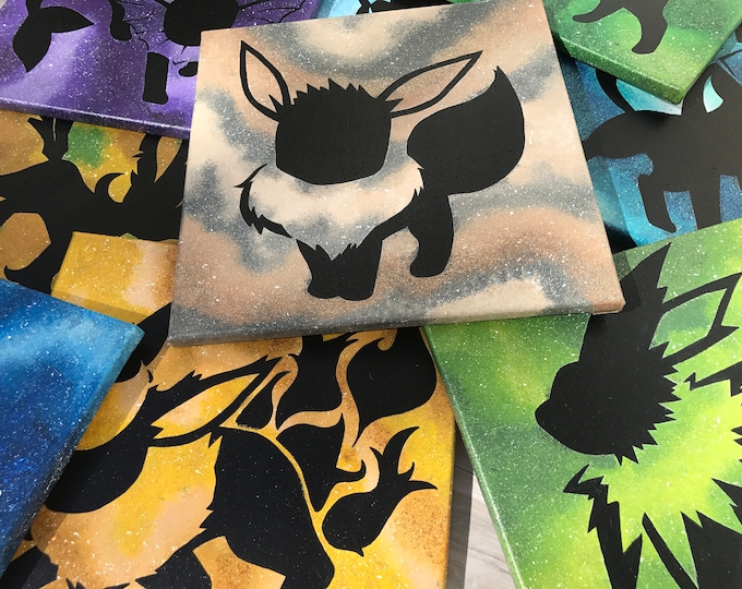 Featured listing image: Shiny Eeveelutions - 12x12 Paintings - Nintendo, Anime - Eevee Jolteon Flareon Vaporeon Espeon Umbreon Glaceon Leafeon Sylveon