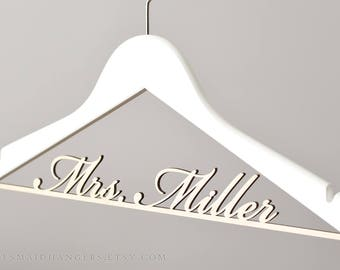Personalized Wedding Hanger Mrs Bridal Name Hanger Mrs