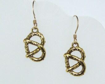 Gold Pretzel Earrings on Gold Filled Ear Wires, Food Jewelry, Pretzel Charms, Geek Gift, Food Earrings, Kitschy Earrings, Gift for Her