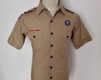 Sale!! Vintage Boy scouts of America Button down shirt Size Youth XLarge/Medium