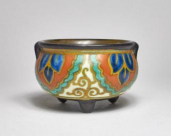 Antique 1920s Art Deco Zuid Collier pattern pottery miniature cauldron