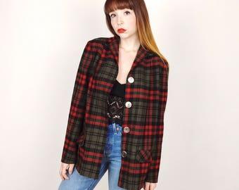 baa5735950 Classic Vintage PENDLETON Lightweight Virgin Wool Plaid Oversized Boxy  Blazer Jacket    Women s size Medium M Small S