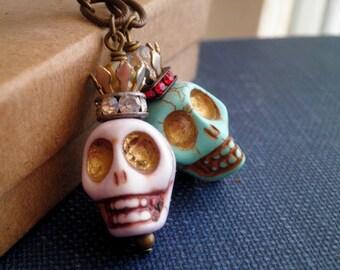 Dead Queens Stone Skull Dangle Earrings - Halloween  / Day of the Dead Skeleton Dangles - Mismatched Skulls & Handmade Beaded Crowns Gift