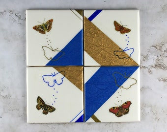 One-of-a-Kind Tile Coasters, Butterfly Coaster Set, Resin Tile Coaster Set, White Blue and Gold Coasters, Gift for Her Under 100, Resin Art