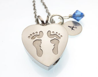 Footprints Urn Necklace | Cremation Jewelry | Heart Urn Necklace For Ashes | Remembrance Necklace | Hand Stamped Personalized Memorial Urn