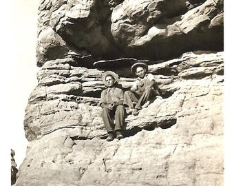 """Vintage Snapshot """"Cliff Dwellers"""" Young Rock Climbers Rocky Cliffs Southwest Found Vernacular Photo"""
