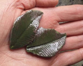 """Ceramic Tile 1.5"""" - 3"""" Green Leaves Tiles 24 piece Select Handmade Sculpted Leaf Tile for Mosaic, Collage and Assemblage"""