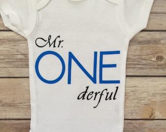 Mr Onderful First Birthday Onesie®, Mr Onderful,  Boy First Birthday Outfit®, 1st Birthday Outfit ®, Baby Boy Birthday Onesie®, Boy Onesie®
