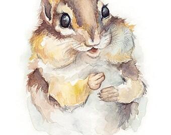 Chipmunk  • 5x7, 8x10, 11x14 Giclée Print • Forest Friends Series • Woodland Nursery