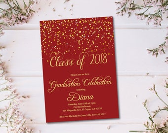 Red & Gold Class of 2018 Graduation Invitation Card/Graduation Announcement/Burgundy High School Graduation Card/Maroon College Graduation