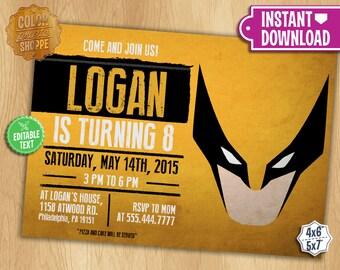 Wolverine Invitation - EDITABLE TEXT - Customizable Superhero Printable Birthday Party Invite Wolverine Superheroes - Instant Download
