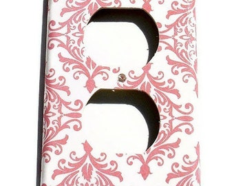 Light Switch Cover Wall Plates  Switch Plate  Switchplate Outlet in Pink Damask  (152O)