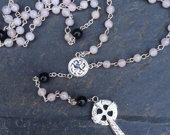 Irish Rosary beads, necklace Kilkenny Marble and Rose Quartz, Irish Designed Religious Catholic Celtic jewelry Jewellery