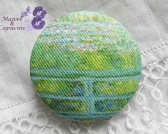 Fabric button printed Monet, 0.94 in / 24 mm