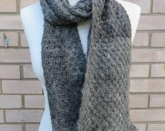 Grey Alpaca Scarf -  Grey Hand Spun Alpaca Scarf Hand Knitted in Textured Blackberry Stitch