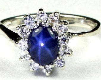 Blue Star Sapphire, 925 Sterling Silver Ring, SR235