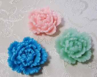 Ruffled Carnation Flower Cabochons Choice of Colors No Hole Resin 24mm Beads 939
