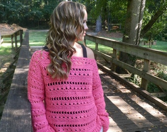 Instant Download- Crochet Pattern- Flowers & Showers Pullover