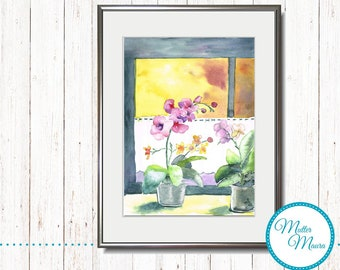 "Watercolor ""Orchids at the window"" original paintings"