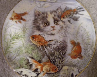"""1986 Pam Cooper """"Fishful Thinking"""" Limited Edition Collector Plate from The Kitten Encounters Collection"""