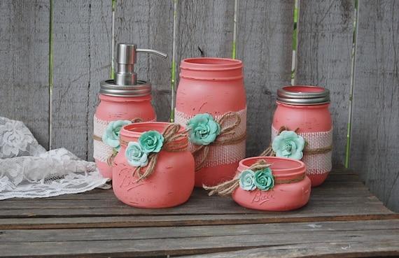 Coral Bathroom Ideas: Mason Jar Bathroom Set Coral Mint Green Shabby Chic Soap