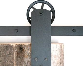 Industrial Wide Strap Front Mount Sliding Barn Door Hardware Set
