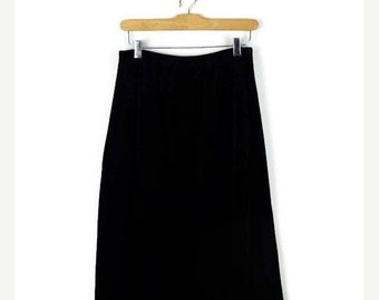 ON SALE Vintage Black Velour Long Skirt  from 1980's/Minimal/Minimalist*